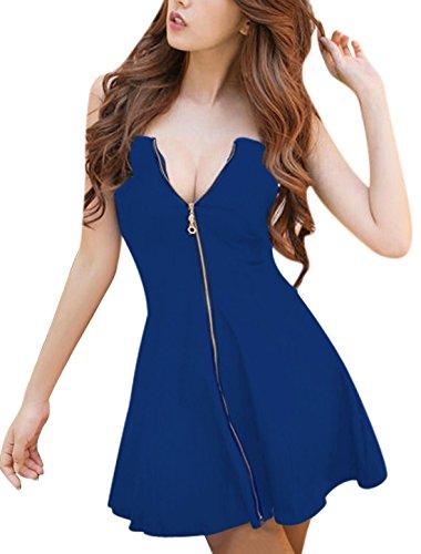 Allegra K Women Strapless Exposed Zipper Front A-Line Dress Blue M