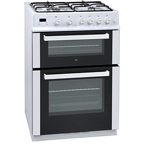 iQ 60cm Double Oven Gas Cooker - White