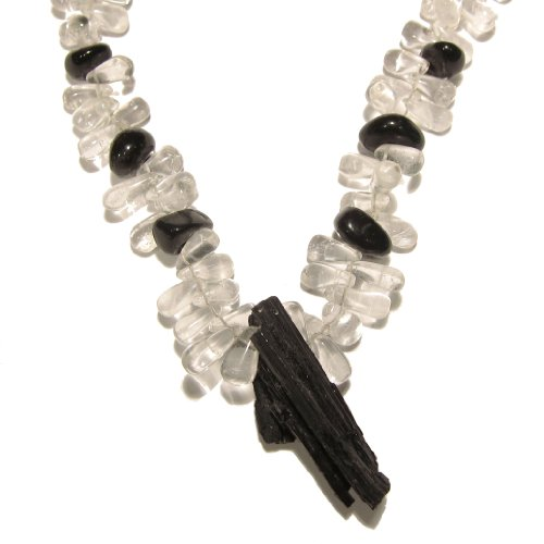 Quartz Necklace 11 Beaded Tourmaline Clear Black Agate Gemstone Reiki Healing 18