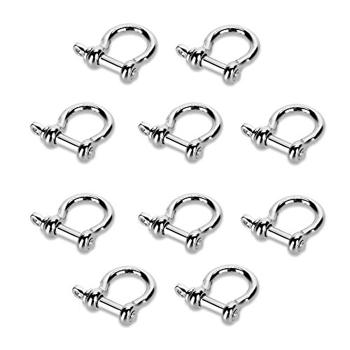 SODIAL(R) 10 PCS O Shape Stainless Steel Anchor Shackle Outdoor Rope Paracord Bracelet Buckle