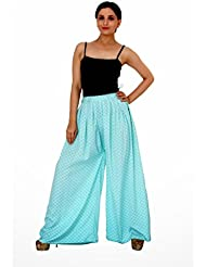 Damsel Blue Color High Quality Crepe Summer Plazzo With Box Pleat