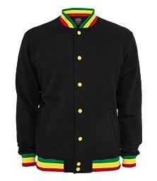 Urban Classics Contrast College Sweatjacket, Color:blk/rasta;Größe:M