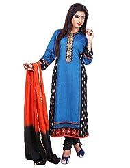 Blue Soft South Cotton Readymade Salwar Kameez Dress - Kasab & Tikki Work In Top