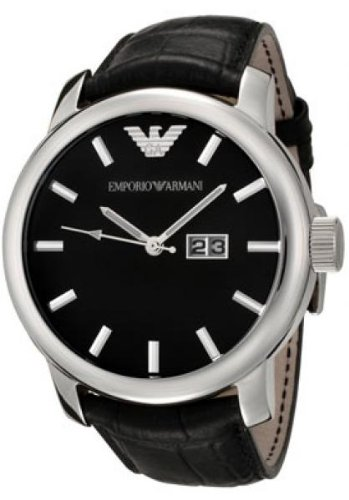 Emporio Armani Men's AR0428 Black Leather Strap Watch