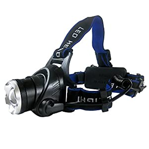 MITHRAS XM-L2 LED Zoom Headlamp, 3 Modes 1000 Lumens Super-Bright Head Torch, Great for Bicycle, Camping, Hiking, with 2 * 18650 Lithium Batteries & a Charger