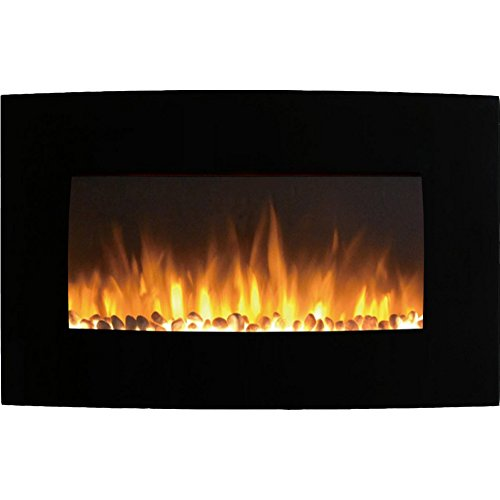 Gibson Living Soho 35 Inch Curved Pebble Barrier Mounted Electric Fireplace