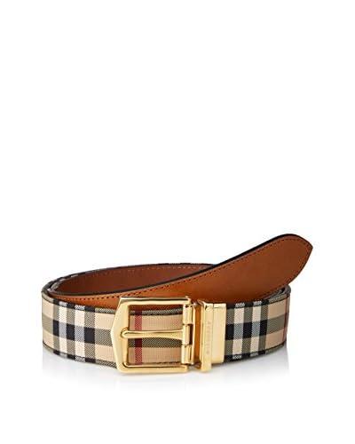 Burberry Men's Checked Belt, Tan