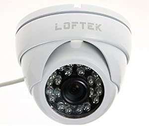 LOFTEK® Conch-shaped dome 24 Infrared LEDs Day/Night Vision Security CCTV Camera Color CCD Video camera Sony 420TVL 3.6mm Wide View Angle Lens. built with high-quality metal housing . White.