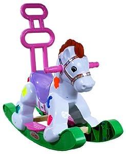 Cavallo a dondolo ARTI A2078 Rocking Pony Green - ruedas, un asiento con respaldo, se encarga de los ninos, la musica, las luces, Verde