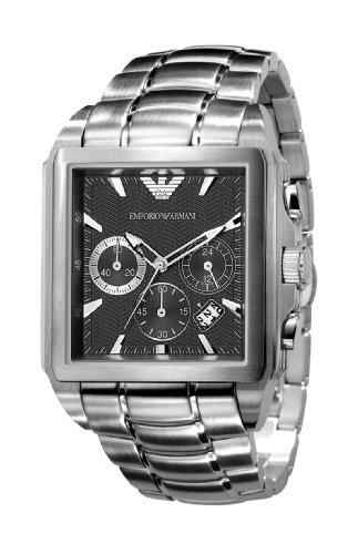 Emporio Armani AR0659 - Reloj cronógrafo de cuarzo para hombre con correa de acero inoxidable, color plateado