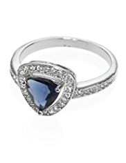 M&S Collection Platinum Plated Triangle Diamanté Ring