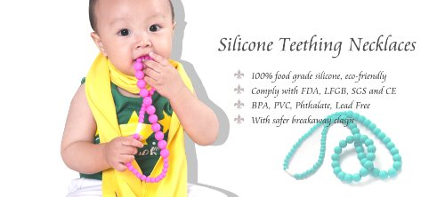 Chewable Teething Pendant for Teething Babies or Nursing Moms. Turquoise Pearshape Large 46mm x 70mm Soft Silicone Chewable Pendant with 26 Black Cord. Soft Silicone Food Safe Bead. BPA Free Non Toxic. Gift Box Included for Easy Gift Giving