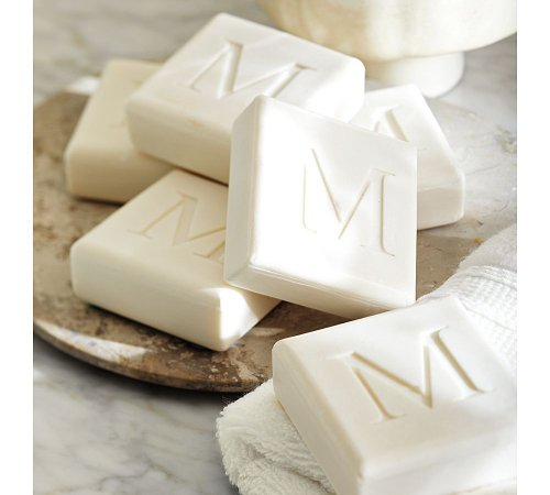 Monogrammed Or Initial Soap 4 Square Bar Set Aqua Mineral