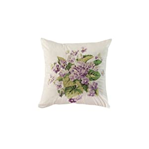 Waverly Sweet Violets Embroidered Accent Pillow, 16 by 16-Inch