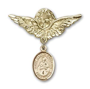 14K Gold Baby Badge with St. Gabriel Possenti Charm and Angel with Wings Badge Pin