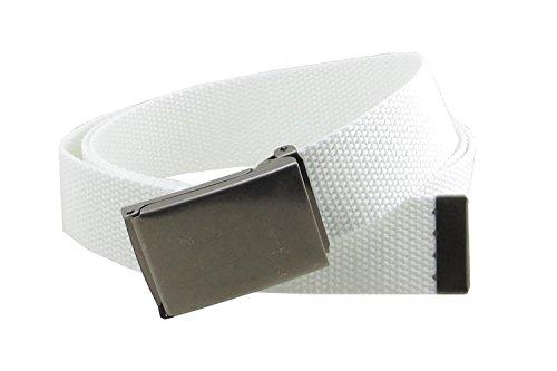 "Canvas Web Belt Flip-Top Antique Silver Buckle/Tip Solid Color 50"" Long (White)"