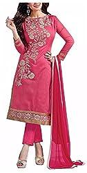 Poonam Fab Women's Chiffon Unstitched Salwar Suit (Pink)