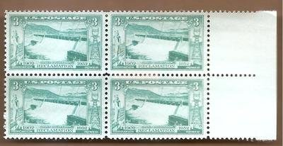 Stamps, U.S. Spillway, Grand Coulee Dam, Scott 1009 M.N.H. Block - 1