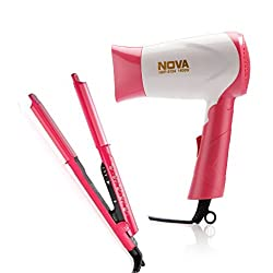 Nova Freshers Pack NHS 981 and NHP 8104 Foldable Hair Dryer (Pink)