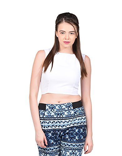La Attire White Georgette CropTop for women, L