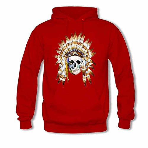 Tribal Style Skull with Indian Feather Hat Men's Hoodie XXL