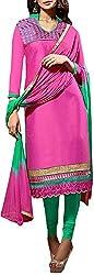 VIDA Women's Cotton Salwar Suit Material (Pink)