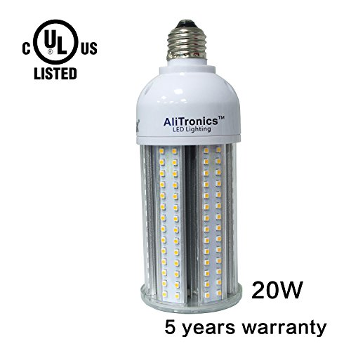 AliTronics 20w Led Corn Bulb,Super Bright 2300 lumen,5 years warranty,Replace CFL 100w or HID bulb 90w ,5000k White, Ac100-277v , Used in Outdoor Post Top,Wall Light,Bollard,garden Light (70w Led Bulb compare prices)