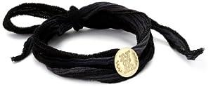 "Mizuki 14k Gold Monogram Letter ""K"" Button on Ombre Silk Bracelet"