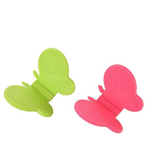 Farfalla Forno Maniglia Guanto in silicone Hot piatto ciotola Pot Holder Carrier anticalcare morsetto clip magnetico per frigorifero pratico utensile da cucina Two Pieces