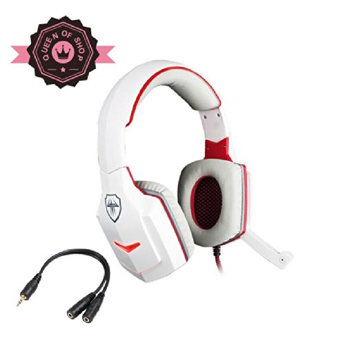 G918 S White + Red Thor Hammer Shape Usb Led Flashing Light 40Mm Speaker Braided Line Game Pc Headset With Rotating Microphone For Lol