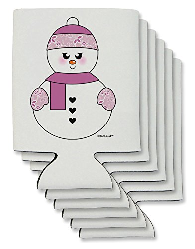 TooLoud Cute Girl Snowman - Christmas Can / Bottle Insulator Coolers - 6 Pieces