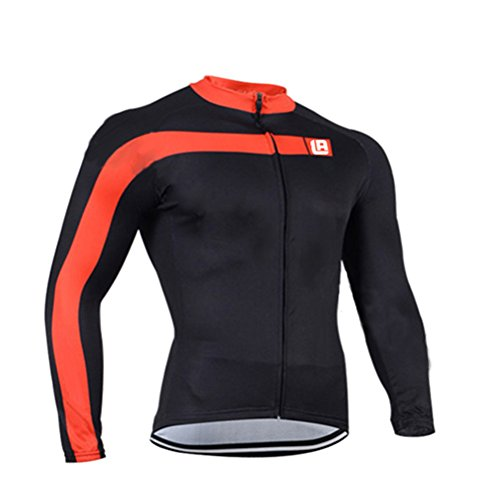 [FHSom Men Cycling Long Sleeve Zip With 4D-Padded Breathable Cool Quick Dry Jersey Suit Cloth Winter] (Make Your Own Superhero Costume Kit)
