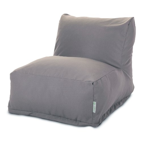 Majestic Home Goods Bean Bag Chair Lounger, Solid, Gray front-412594