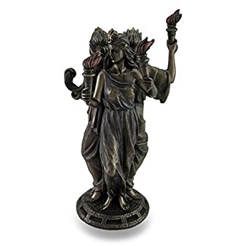 Resin Statues Bronze Finish Triple Form Hecate Greek Goddess Of Magic Statue 4.25 X 8.25 X 4.75 Inches Bronze