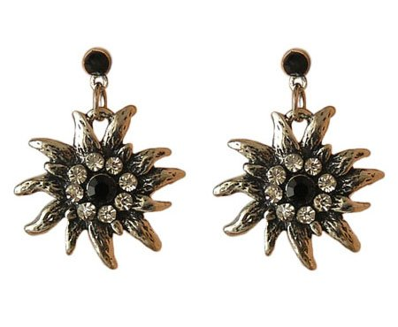 Trachtenschmuck Dirndl Ohrstecker Edelweiss Silberfarben mit Strass Crystal klar und Jet schwarz Ohrringe günstig