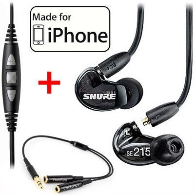 Shure SE215-K Earphones and CBL-M-+K Music Phone Cable with Remote + Mic for iPhone, iPod and iPad