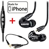 Shure SE215-K Earphones and CBL-M-+K Music Phone Cable with Remote + Mic for iPhone iPod and iPad
