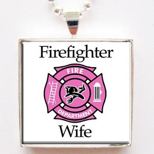 Firefighter Wife Glass Tile Pendant Necklace with Chain