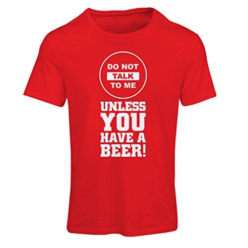 N4621F T-shirt female La birra magliette! (Large Rosso Multicolore)