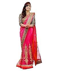 MDS Net Embriodered Designer Pink saree