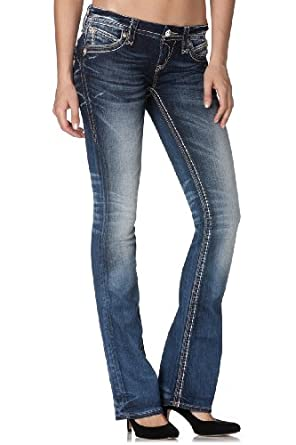 Rock Revival - Womens Leah Boot Leg Denim Jeans in Color: B17, Size: 30, Color: Denim