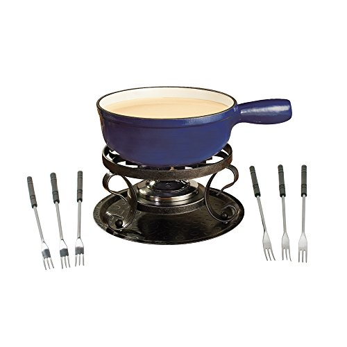 Swissmar KF-66518 Lugano 2-Quart Cast Iron Cheese Fondue Set, 9-Piece, Deep Blue (Fondue Dual compare prices)