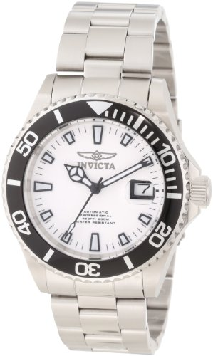 Invicta Pro Diver Men's Automatic Watch with White Dial Chronograph Display and Silver Stainless Steel Bracelet 1002