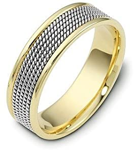 18 Karat Gold and Platinum 7mm Comfort Fit Wedding Band Ring - 11.5