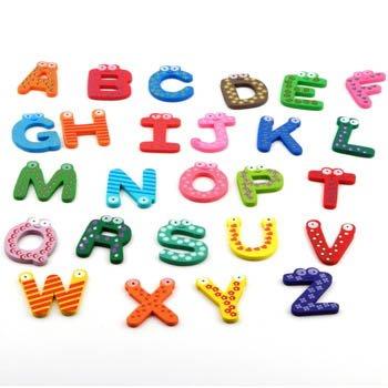 130Pcs Fridge Wooden Magnet Baby Children Toy A-Z Abc Educational Alphabet 26 Letter