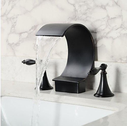Rozinsanitary Oil Rubbed Bronze Bathtub Faucet Dual Handles Basin Mixer Tap Hand Shower