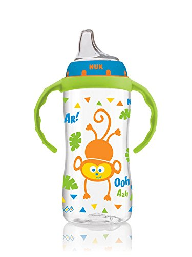 Nuk Learner Sippy Cup BOY 10oz with Handles (HANDLE COLOR MAY VARY) Monkey Lion Design + Extra Spout