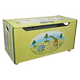 Fantasy Fields Alphabet Personalized Childrens Toy Chest, Cool Animal Design, Durable Wood Material FInished