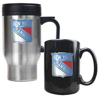 New York Rangers - Stainless Steel Travel Mug  Black Ceramic Mug Set - Primary LogoB001D732XQ