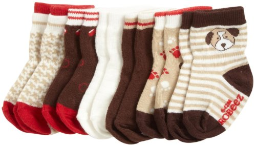 Robeez Baby-Boys Newborn 6 Pack Puppy Socks, Red/Brown Multi, 0-6 Months